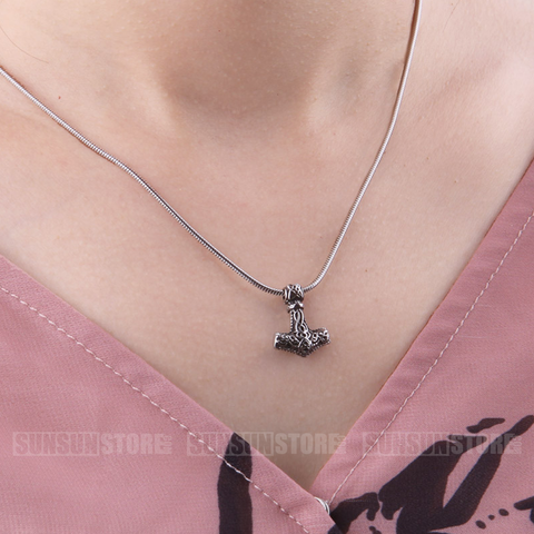 Viking Thor's Hammer Mjolnir Pendant Necklace for women as christmas gift