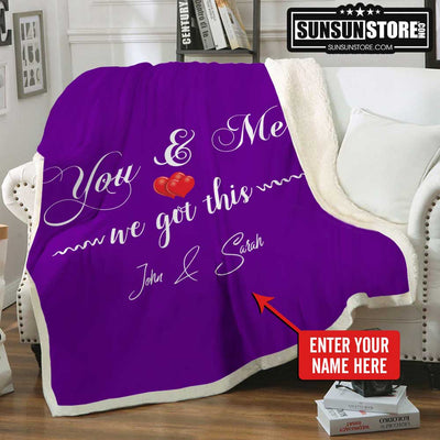 "Personalized Blanket: ""You & Me we got this"" with Husband Name & Wife Name"