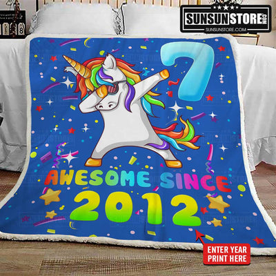 Personalized Blanket: Birthday Unicorn Dabbing with your child's year of birth - Perfect gift for your child's