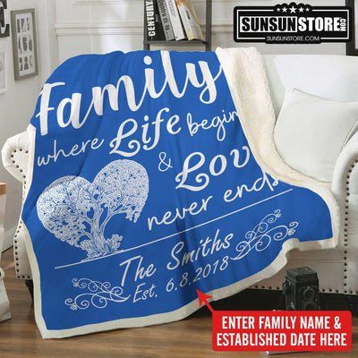 "Personalized Blanket: ""Family where life begins & love never ends"" with  Family Name & Establish Date"