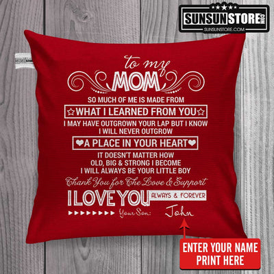 "Personalized Pillow Cover 18""x 18"": ""To my Mom...I Love You Always & Forever"" with Your Name - Perfect gift for Mom"