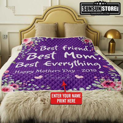"Personalized Quilt: ""Best Friend, Best Mom, Best Everything"" with Your Name - Perfect gift for Mom"