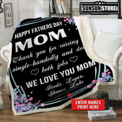 "Personalized Blanket: ""Happy father's day Mom... We love you Mom"" with Names - Perfect gift for Mom"