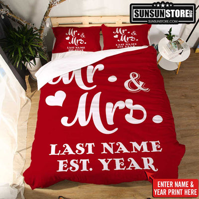 Personalized Bedding Set: Mr and Mrs with Name & Wedding Year