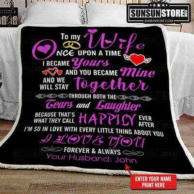 "Personalized Blanket: ""To My Wife...I love you forever & always"" with your name - Perfect gift for Wife"