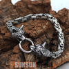 Image of Viking Wolf Head with King Chain Bracelet - Hot Sell 2018