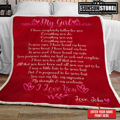 "Personalized Blanket: ""My Girl...I Love You"" with your name - Perfect gift for your lover"