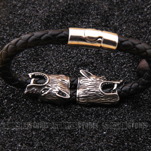 New arrival stainless steel wolf heads bracelet