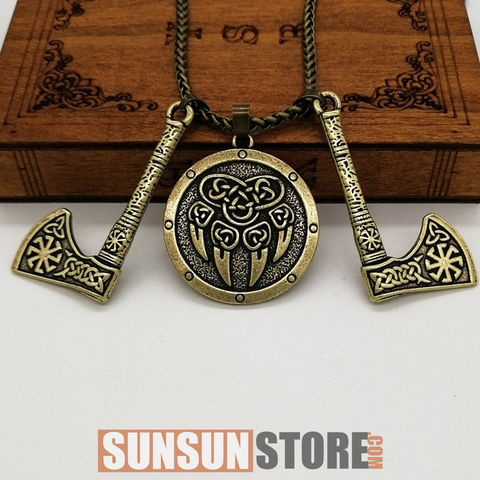 Bear Paw with Slavic Axe Viking Necklace