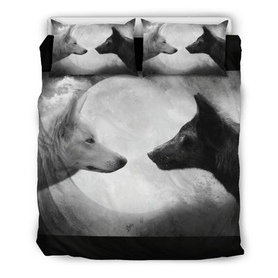 Wolf White and Black Bedding Set
