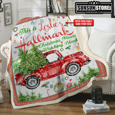 "Personalized Blanket: ""Christmas Movies Watching Blanket"" with your family name - Perfect gift for Chirstmas"