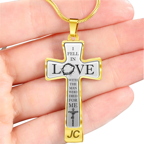 I fell in love with the man who died for me corss necklace