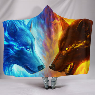 Wolf Fire and Ice Hooded Blanket
