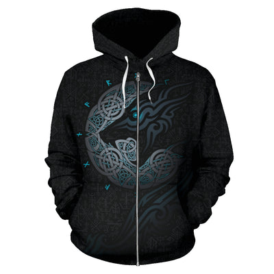 Viking Wolf Zip Up Hoodie