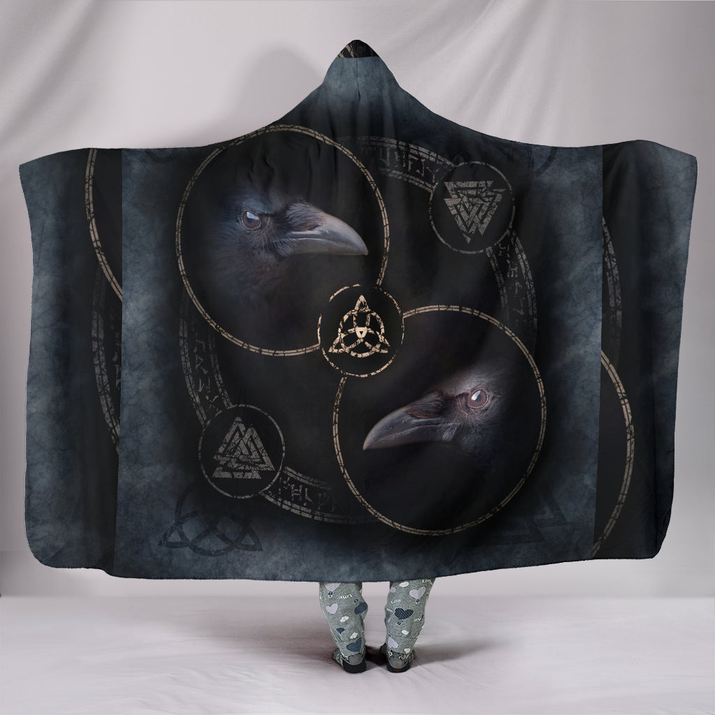 Celtic Crow Circle with Two Raven Hooded Blanket