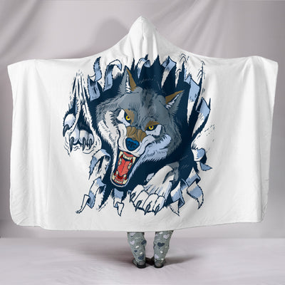 Wolf Fight Hooded Blanket