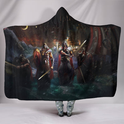 Vikings Landing In Front Of Castle Hooded Blanket