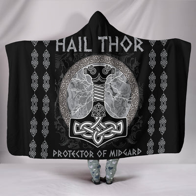 Hail Thor Protector of Midgard Hooded Blanket