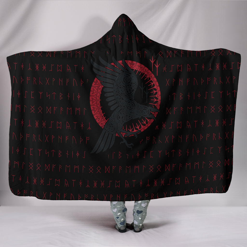 Viking Raven with Rune Hooded Blanket