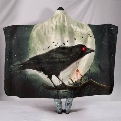 Raven with Moon Hooded Blanket