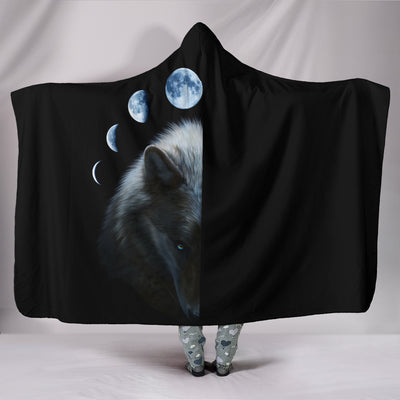 Wolf and Moon Hooded Blanket