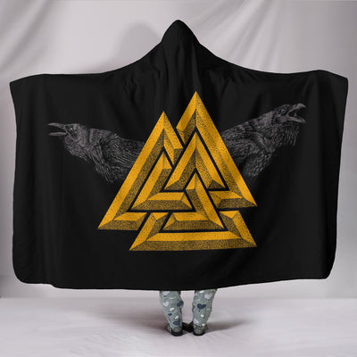 Viking Valknut Huginn and Muninn Hooded Blanket