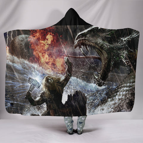 Viking Kills The Dragon Hooded Blanket