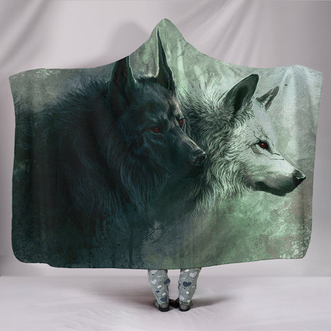 Black and White Wolf Hooded Blanket