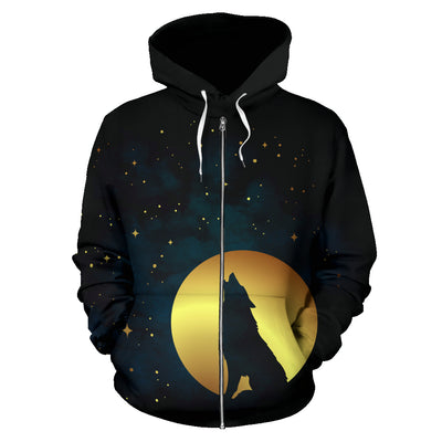 Wolf Howling At The Full Moon Zip Up Hoodie