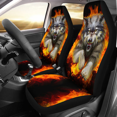 Wolf Fight Car Seat Covers