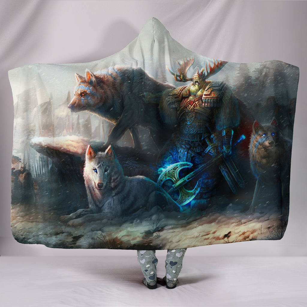 Viking Men and Wolf Hooded Blanket