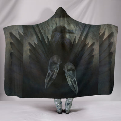Raven with Skull Hooded Blanket