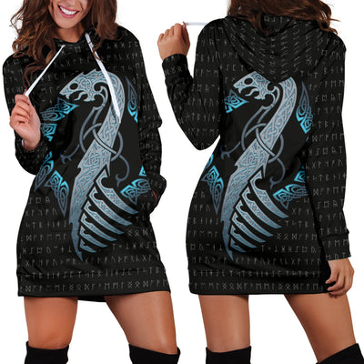 Viking Dragon with Rune Hoodie Dress