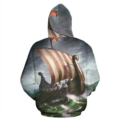 Viking Ship Zip Up Hoodie