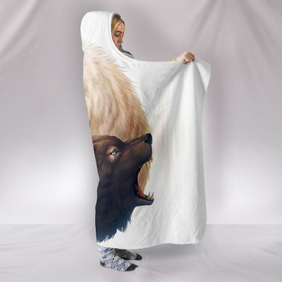 Wolf White and Black Hooded Blanket