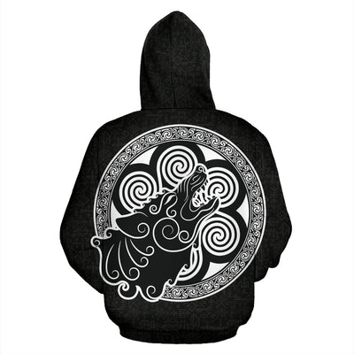 Celtic Wolf Zip Up Hoodie