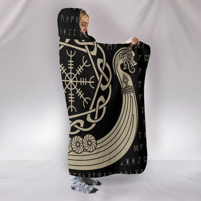 Viking Ship and Symbol Hooded Blanket