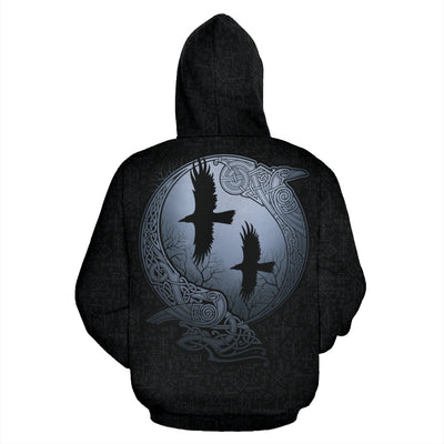 Viking Raven Zip Up Hoodie