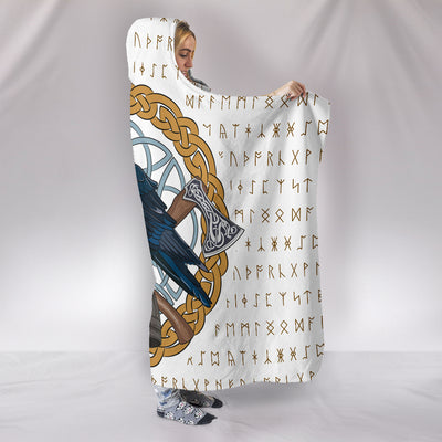 Viking Raven Hooded Blanket
