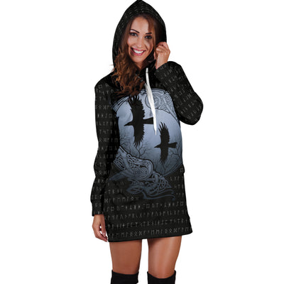 Viking Raven Hoodie Dress