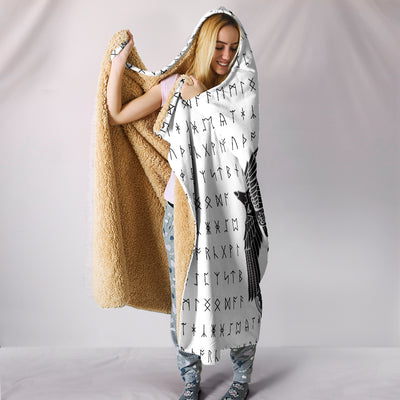 Viking Raven and Runes Hooded Blanket