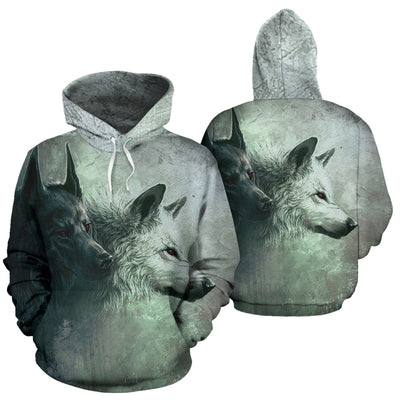Black and White Wolf Hoodie All Over Print