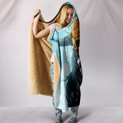 Viking Odin with Raven Hooded Blanket