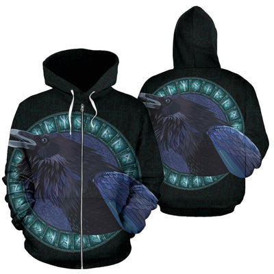 Viking Raven with Runes Zip Up Hoodie