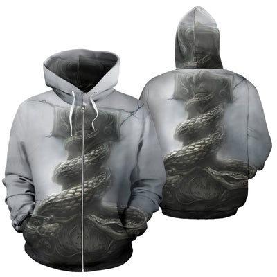 Thor Fighting The Jormungand Zip Up Hoodie