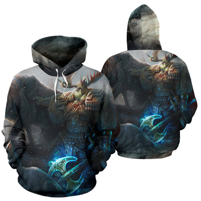 Viking Men and Wolf Hoodie All Over Print