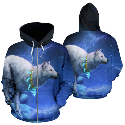 Wolf with Moon Zip Up Hoodie