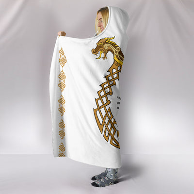 Viking Dragon and Symbol Hooded Blanket