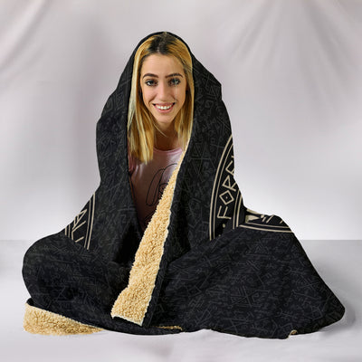 Circle of Norse Runes Hooded Blanket