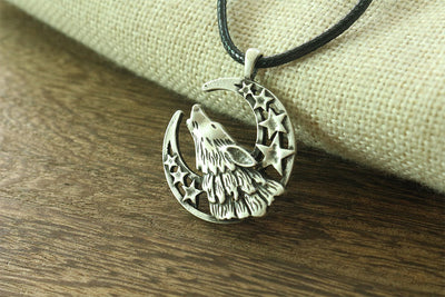 Celestial Howling Wolf Moon Cord Necklace
